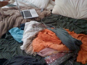 Where I type.  Just, around all those clothes.