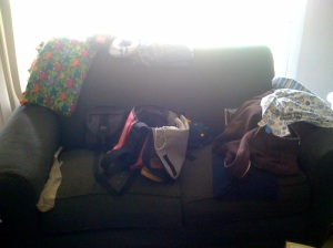 The love seat.  Also, where you drop everything when you walk in the house.