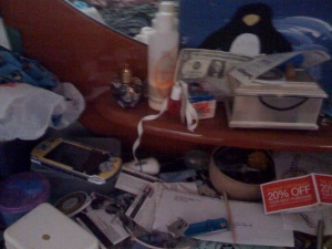 Where my kids' electronics go to die.  And, a scrap paper grave yard.