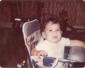 This is me, 33 years ago, in my plaid bicentennial edition high chair...